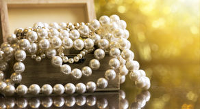 White pearls banner Royalty Free Stock Images