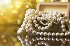 White pearls jewelry Royalty Free Stock Images