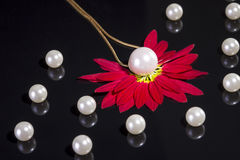 White pearls necklace on black background Royalty Free Stock Image