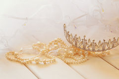 White pearls necklace and diamond tiara Stock Images