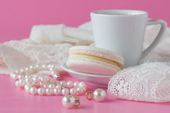 White pearls necklace on toilette table. Selective focus. Royalty Free Stock Photos