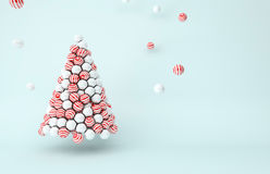 White pearls and red stripes balls Christmas tree Royalty Free Stock Images