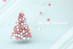 White pearls and red stripes balls Christmas tree with text Royalty Free Stock Photos
