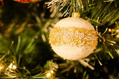 White Pearly Bauble on Christmas Tree Royalty Free Stock Photo
