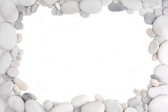 White pebble stone frame border Stock Photo