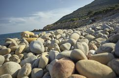 White pebbles on the beach. Detail of some white pebbles on a typical beach of the southern coast of southern Sardinia in Italy, with the background of the rest royalty free stock images