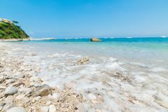 White pebbles in Marina Grande beach in Capri island Royalty Free Stock Photo