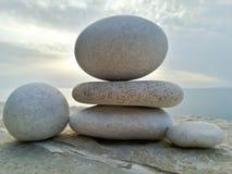 White Pebbles in sunlight Stock Photo