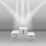 White pedestal floodlit. Realistic three-dimensional image vector illustration