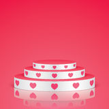White pedestal with pink hearts. Stock Image