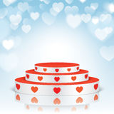 White pedestal with red hearts. Royalty Free Stock Images