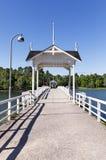 White pedestrian bridge with sun shades Royalty Free Stock Photo