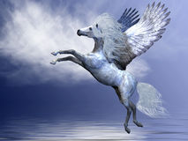 White Pegasus. Spreads his magnificent wings in flight over an ocean Royalty Free Stock Photo