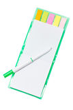 White Pen And Blank Notebook With Stick Notes Inside. Royalty Free Stock Photography