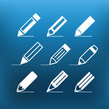 White pencil icons clip-art on color background Royalty Free Stock Images