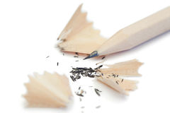 White pencil and its peelings Royalty Free Stock Photos