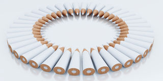 White pencils stacked circle Royalty Free Stock Photos