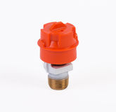 White pendent sprinkler with cap standing upright on white Royalty Free Stock Image