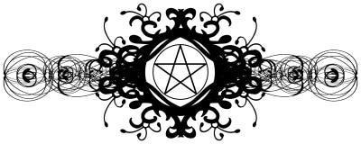 White pentacle on black decoration isolated Royalty Free Stock Images