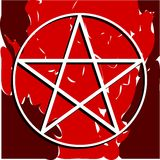 White pentacle on coloful background Stock Images