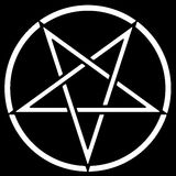 Pentagram. White pentagram on a black background Royalty Free Stock Images