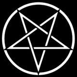 Pentagram. White pentagram on a black background vector illustration