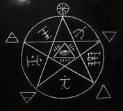 White pentagram symbol on the blackboard photo. Halloween, religious, occult, black magic concept stock photography
