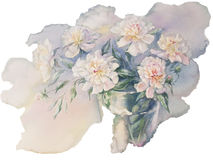 White peonies bouquet watercolor isolated. Bouquet of white and rose peonies watercolor illiustration Stock Photo