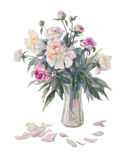 White peonies bouquet watercolor. Bouquet of white and pink peonies watercolor Stock Image