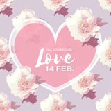 White Peony Flowers. Heart frame. 14 february. Happy valentines day Royalty Free Stock Images