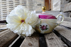 White peony with old teapot at the entrance of a house Stock Photography