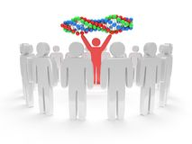 White people around red man with DNA chain. 3D. Royalty Free Stock Photography