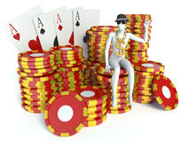 White people with casino tokens and playing Cards Stock Photos
