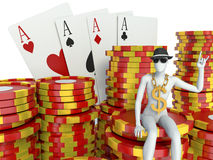 White people with casino tokens and playing Cards Stock Image