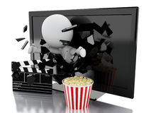 White people with 3d television, popcorn and clapper board. 3d illustration. White people coming out of 3d television with popcorn and clapper board Royalty Free Stock Photo