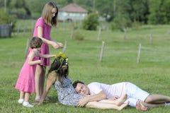 White people having fun in summer Stock Photos