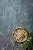 White pepper and fresh rosemary twigs, culinary ingredients on dark background Stock Photography
