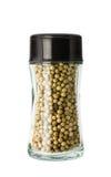 White pepper in glass bottle Royalty Free Stock Image