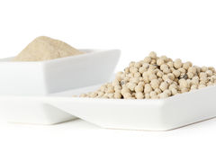 White pepper grain and powder Royalty Free Stock Images