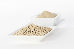 White pepper grain and powder Royalty Free Stock Photos