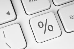 White percent keyboard button. Close-up Royalty Free Stock Photography