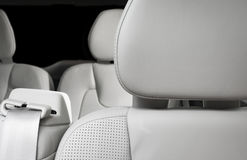 White perforated leather drivers headrest Royalty Free Stock Image