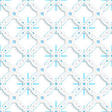 White perforated ornament with blue snowflakes seamless. Abstract 3d geometrical seamless background. White perforated ornament with blue snowflakes under and Royalty Free Stock Photos