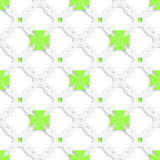 White perforated ornament with green crosses seamless Stock Photography