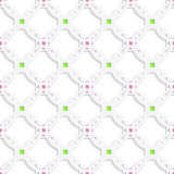 White perforated ornament with green pink seamless Stock Photos