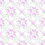 White perforated ornament layered with pink dots seamless Royalty Free Stock Photos