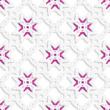 White perforated ornament layered with stars seamless Royalty Free Stock Photo