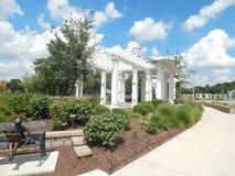 White Pergola. At Sinnissippi Gardens, Rockford, Illinois Stock Image