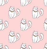 White Persian Cat on Pink Background. Vector Illustration. Royalty Free Stock Photography