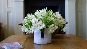 White Petaled Flower on White Flower Vase Royalty Free Stock Photos